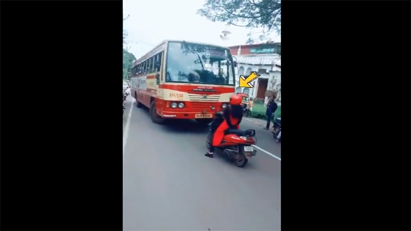 Kerala woman hailed as hero for standing her ground against bus in wrong lane