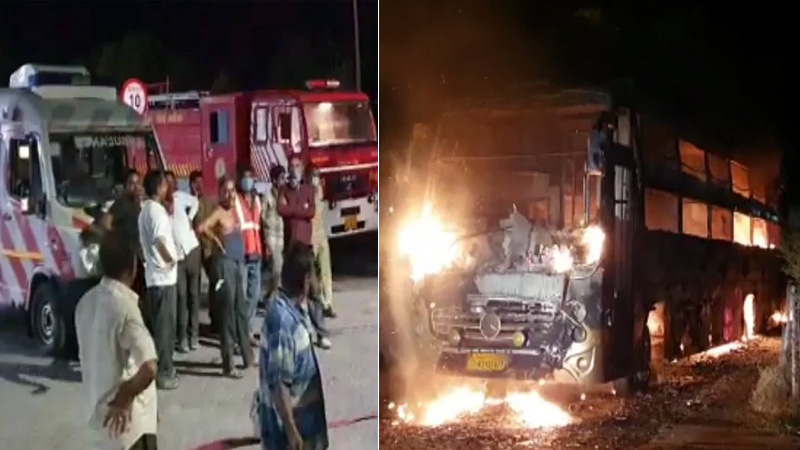 ahmedabad baroda express high way bus fire