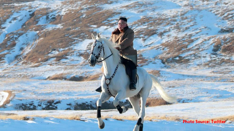 Kim Jong-un North Korean leader rides horse up sacred mountain