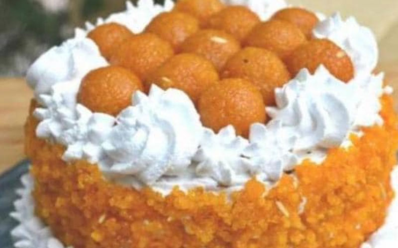 ladoo cake for delhi bjp before election results counting