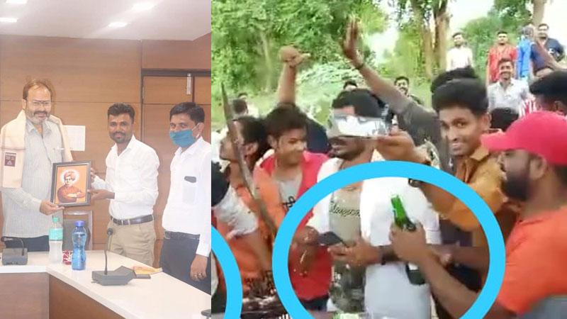 bjp workers celebrate birthday video viral mahisagar