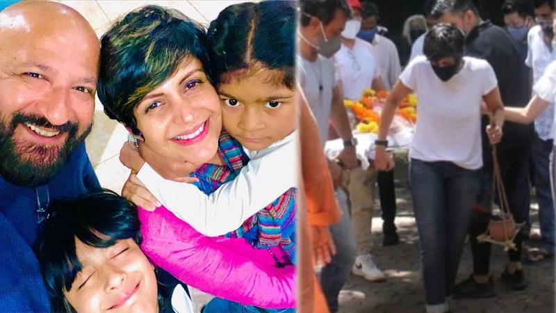 heartbreaking photos of raj kaushal last rites mandira bedi breaks down