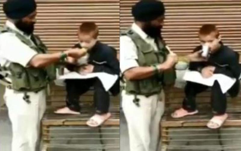 CRPF Havaldar Iqbal Singh feeds paralytic child in Srinagar