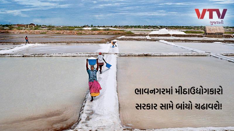 Salt industry protest to gujarat govt in Bhavnagar Gujarat