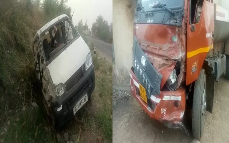 Three people died in a car accident in Aravalli and a tanker accident