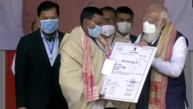 many denied ladn ownership for years says pm in assam