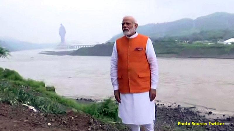 PM Narendra Modi at Narmada cruise in Kevadiya Gujarat