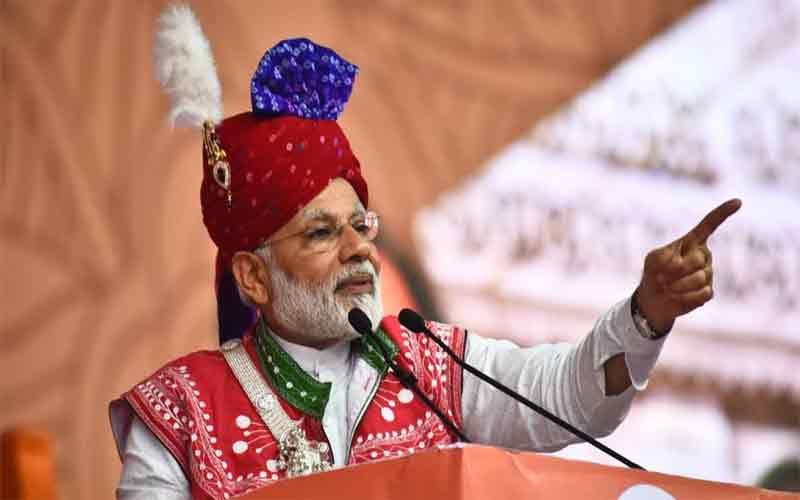 PM Narendra Modi addressing a public rally in Dindori