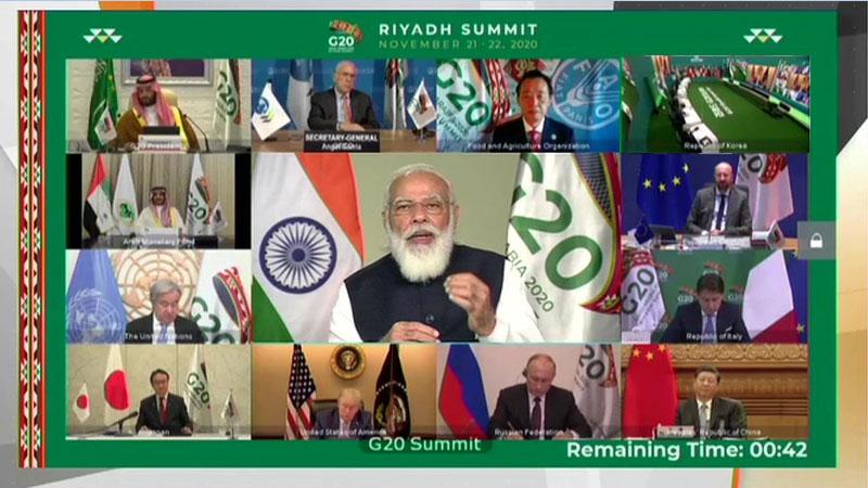 pm modi address 15th G20 summit saudi arabia coronavirus