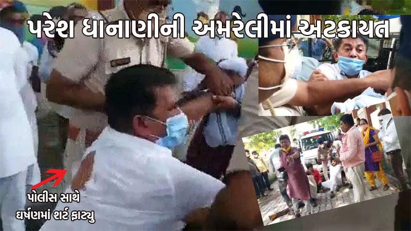 congress paresh dhanani  amit chvda arressted by police on gandhijayanti upvas andolan