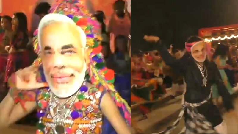 Surat people were modi face mask while playing garba and these tatoo topics in