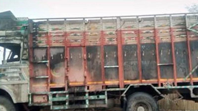 Truck Was Set Ablaze By Terrorists In Amirabad Village