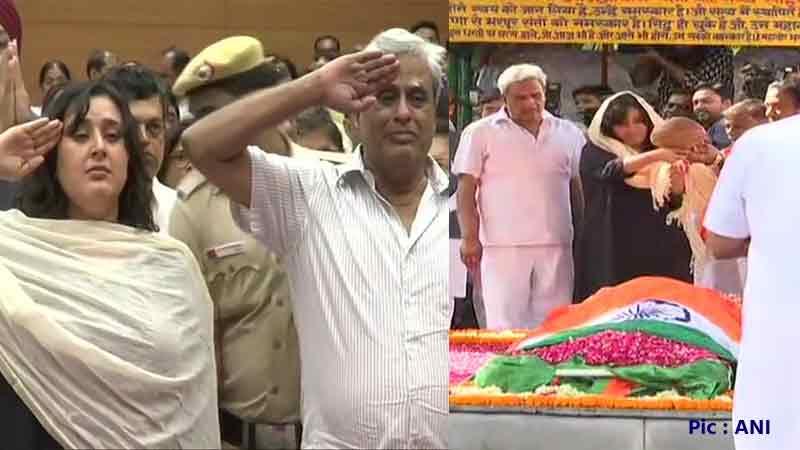 sushma swaraj cremation live updates lodhi road crematorium