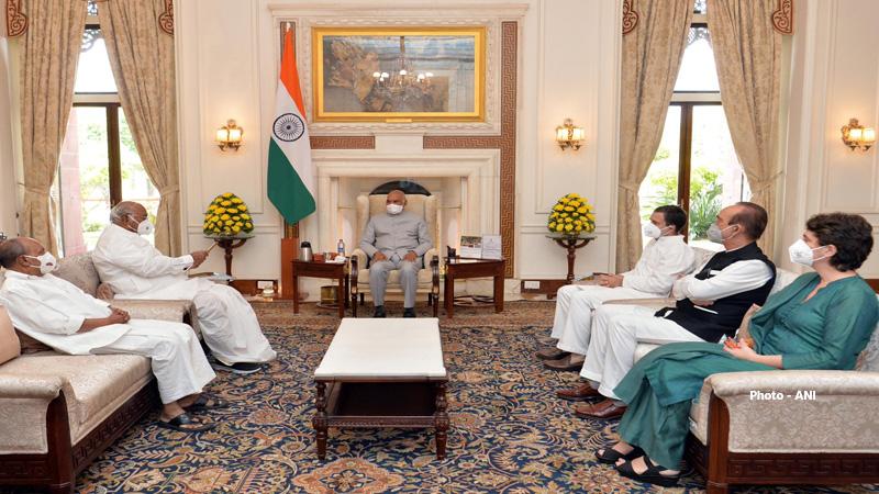 rahul gandhi priyanka gandhi congress leaders meets president ram nath kovind over lakhimpur kheri case
