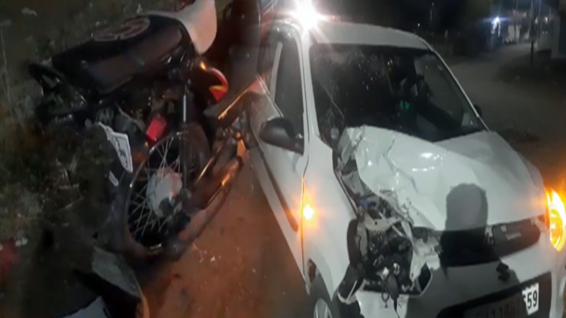 Rajkot car and bike accident two people death