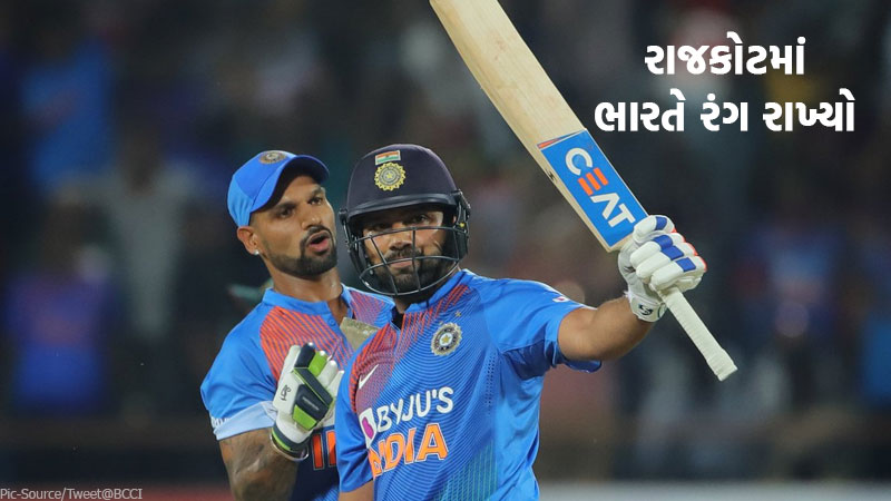 India Won by 8 wickets in IND vs BAN T20 match in rajkot