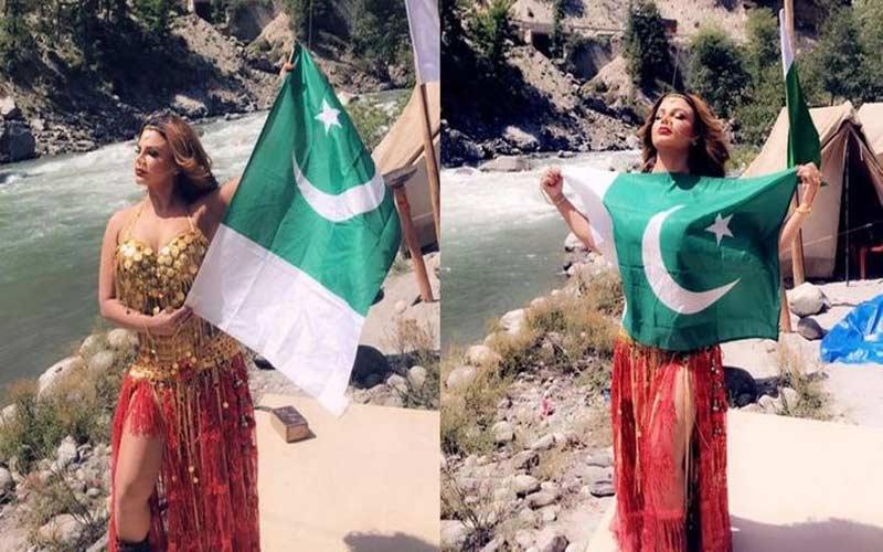 Rakhi Sawant poses with a Pakistani national flag, clarifies act in video