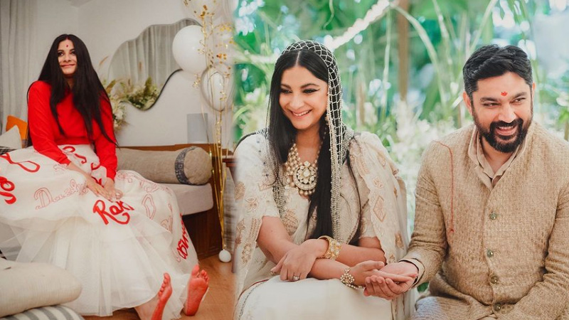 bollywood rhea kapoor troll for her reception look compared to radhe maa