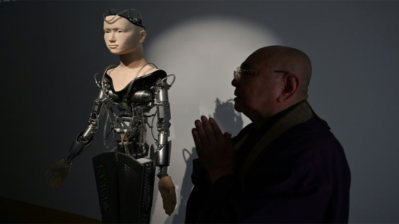 Robot became Priest in Buddhist temple at Japan