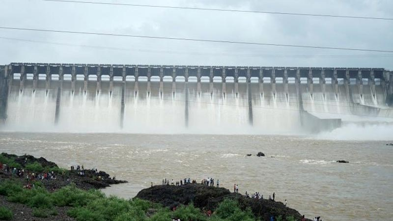 Sardar Sarovars Dam water level at all-time high of 131.5 metre and 14 gates of the dam were opened