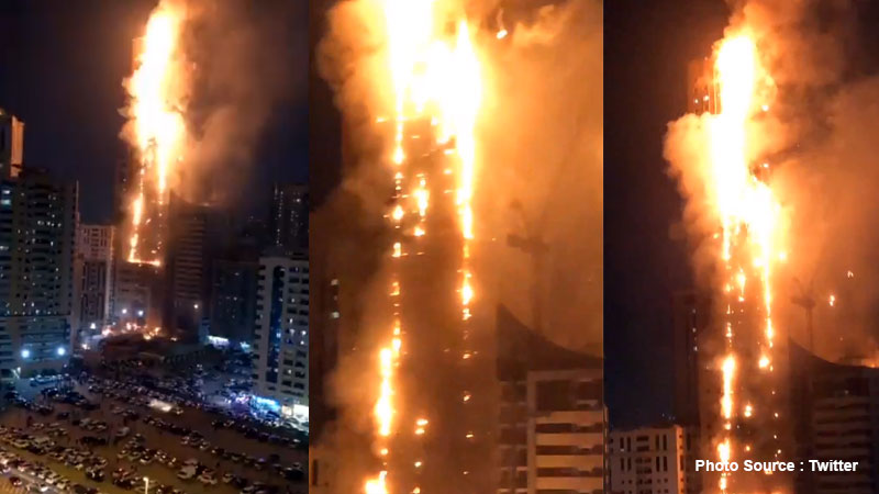 Huge high rise catches fire in UAE