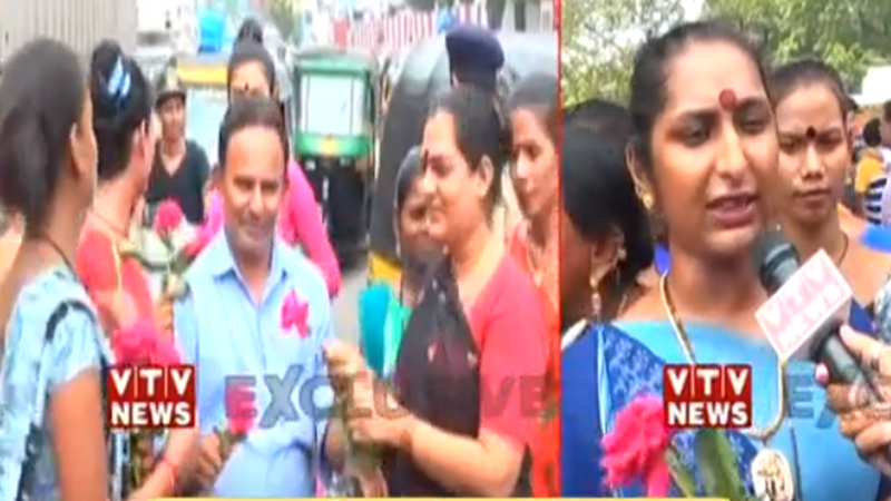 Traffic Rules surat transgender give rose and stay safe message gujarat