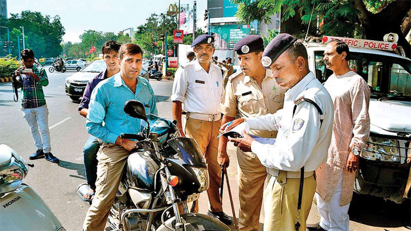 In Gujarat millions of traffic fines were collected from cities in ten days