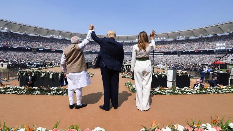 donald trump talks about gujarat visit in india motera stadium crowd in america republicans rally