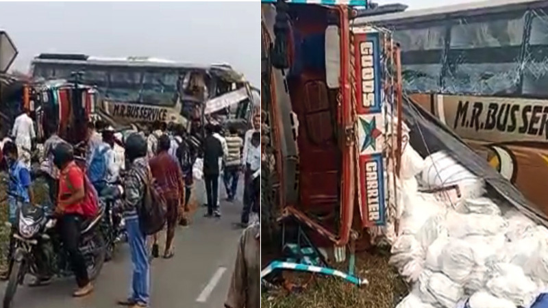 valsad road accident private bus and truck