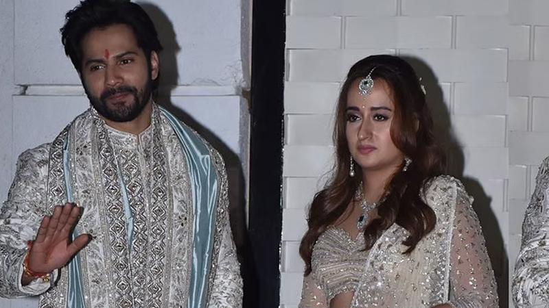 varun dhawan natasha dalal wedding couple appears before media actor says darr jayegi bechari