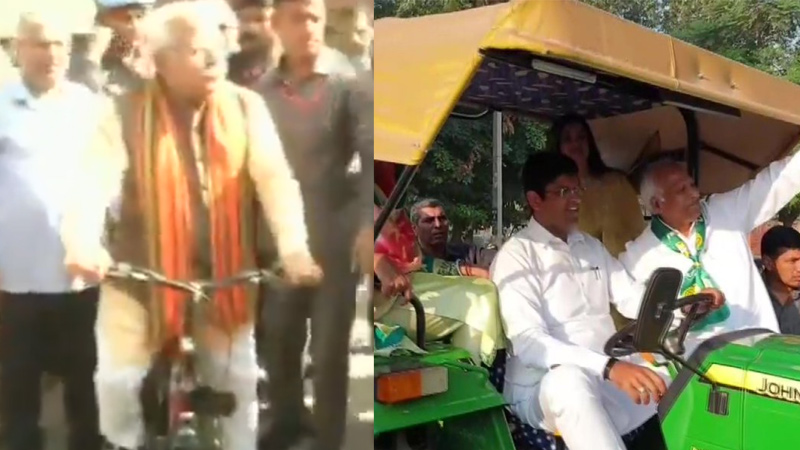 Outgoing Haryana CM Manohar Lal Khattar rides cycle and JJP leader Dushyant Chautala came on Tracter to polling station