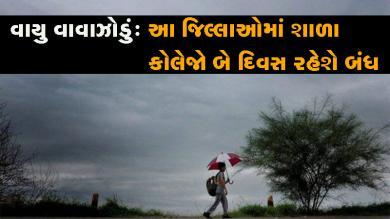 ગુજરાતમાં વાવાઝોડાના ખતરાને લઇને આ જિલ્લાઓમાં શાળા-કોલેજોમાં રજા જાહેર કરાઇ